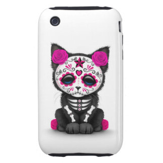 Cute Pink Day of the Dead Kitten Cat white Tough iPhone 3 Case