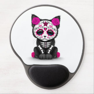 Cute Pink Day of the Dead Kitten Cat, white Gel Mouse Pad