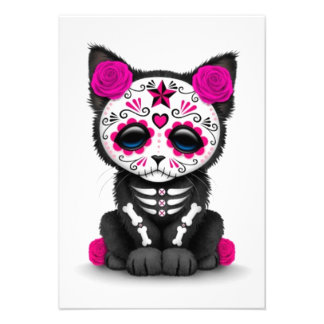 Cute Pink Day of the Dead Kitten Cat white Announcement