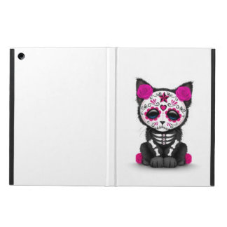 Cute Pink Day of the Dead Kitten Cat, white iPad Air Cases