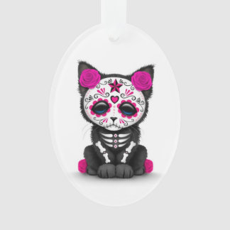 Cute Pink Day of the Dead Kitten Cat, white Ornament