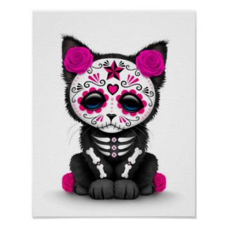 Cute Pink Day of the Dead Kitten Cat, white Poster