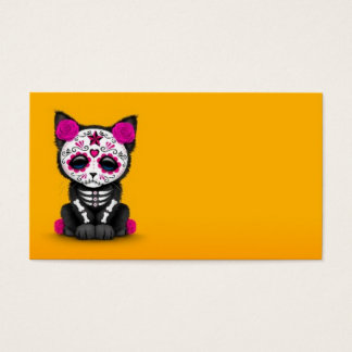 Cute Pink Day of the Dead Kitten Cat, yellow Business Card