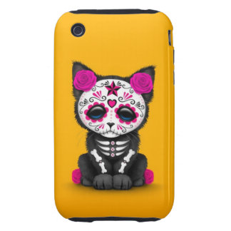 Cute Pink Day of the Dead Kitten Cat yellow iPhone 3 Tough Cover