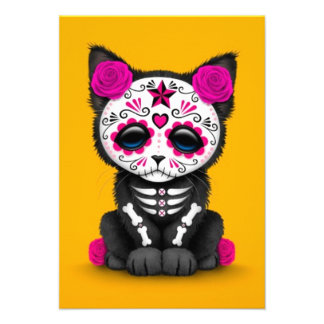 Cute Pink Day of the Dead Kitten Cat yellow Invitations