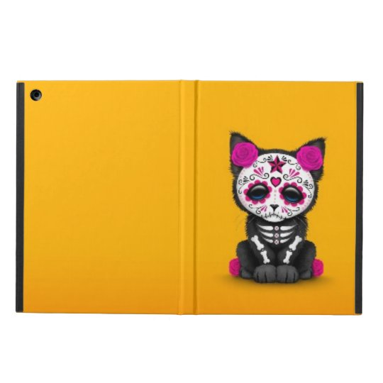 Cute Pink Day of the Dead Kitten Cat, yellow iPad Air Cover