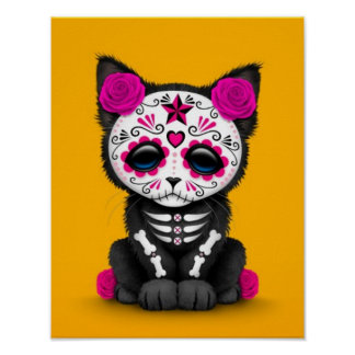 Cute Pink Day of the Dead Kitten Cat, yellow Poster
