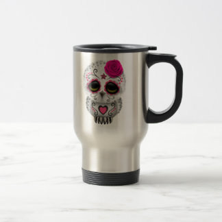 Cute Pink Day of the Dead Sugar Skull Owl 15 Oz Stainless Steel Travel Mug
