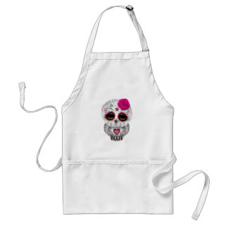 Cute Pink Day of the Dead Sugar Skull Owl Adult Apron