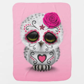Cute Pink Day of the Dead Sugar Skull Owl Baby Blanket