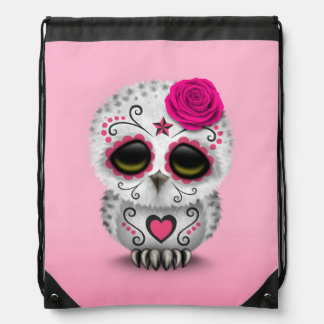Cute Pink Day of the Dead Sugar Skull Owl Backpack