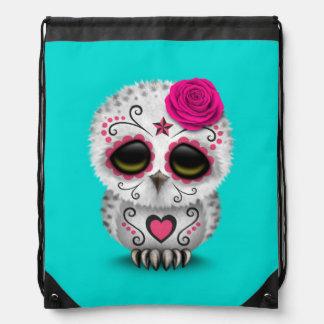 Cute Pink Day of the Dead Sugar Skull Owl Blue Cinch Bag