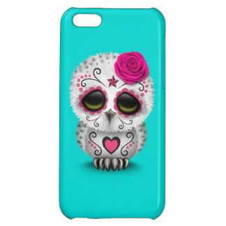 Cute Pink Day of the Dead Sugar Skull Owl Blue Case For iPhone 5C
