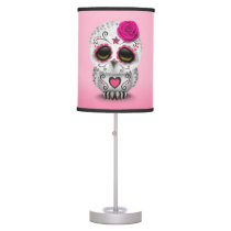 Cute Pink Day of the Dead Sugar Skull Owl Desk Lamp