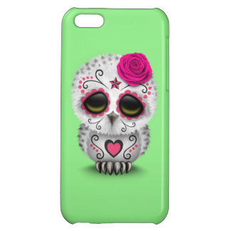 Cute Pink Day of the Dead Sugar Skull Owl Green iPhone 5C Cases