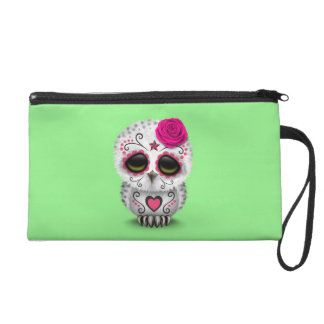 Cute Pink Day of the Dead Sugar Skull Owl Green Wristlets