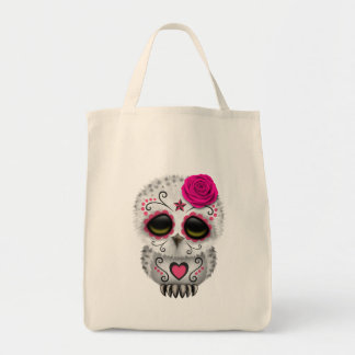 Cute Pink Day of the Dead Sugar Skull Owl Grocery Tote Bag