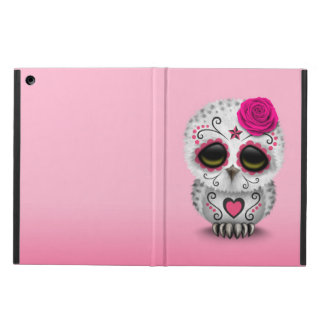 Cute Pink Day of the Dead Sugar Skull Owl Case For iPad Air