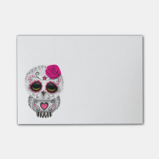Cute Pink Day of the Dead Sugar Skull Owl Post-it Notes