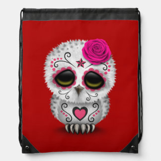 Cute Pink Day of the Dead Sugar Skull Owl Red Drawstring Backpacks
