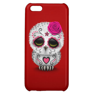 Cute Pink Day of the Dead Sugar Skull Owl Red iPhone 5C Cases