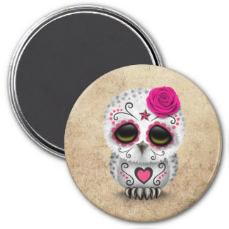 Cute Pink Day of the Dead Sugar Skull Owl Rough 3 Inch Round Magnet