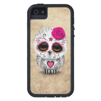 Cute Pink Day of the Dead Sugar Skull Owl Rough Case For iPhone 5/5S