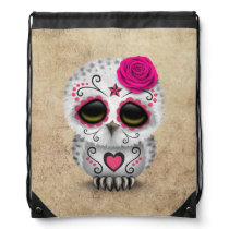 Cute Pink Day of the Dead Sugar Skull Owl Rough Drawstring Bag
