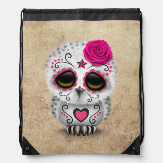 Cute Pink Day of the Dead Sugar Skull Owl Rough Drawstring Bag