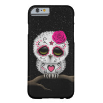 Cute Pink Day of the Dead Sugar Skull Owl Stars Barely There iPhone 6 Case