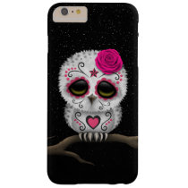 Cute Pink Day of the Dead Sugar Skull Owl Stars Barely There iPhone 6 Plus Case