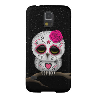 Cute Pink Day of the Dead Sugar Skull Owl Stars Case For Galaxy S5