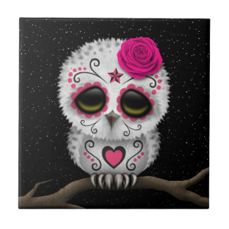 Cute Pink Day of the Dead Sugar Skull Owl Stars Ceramic Tile
