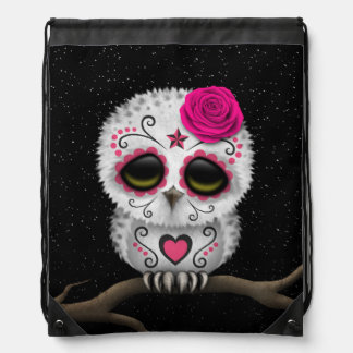 Cute Pink Day of the Dead Sugar Skull Owl Stars Cinch Bags