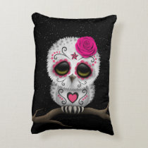 Cute Pink Day of the Dead Sugar Skull Owl Stars Decorative Pillow