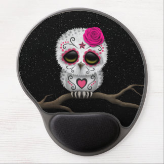 Cute Pink Day of the Dead Sugar Skull Owl Stars Gel Mouse Pad