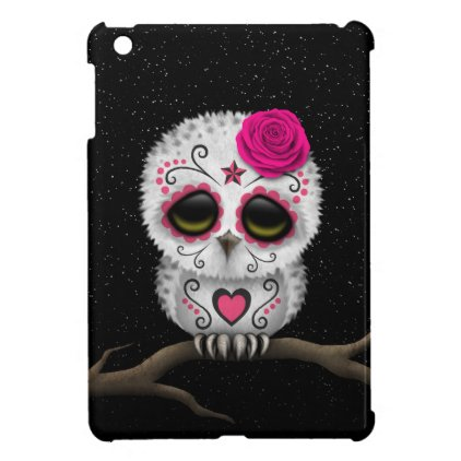 Cute Pink Day of the Dead Sugar Skull Owl Stars Case For The iPad Mini