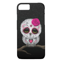 Cute Pink Day of the Dead Sugar Skull Owl Stars iPhone 7 Case