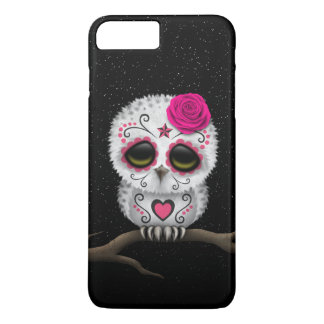 Cute Pink Day of the Dead Sugar Skull Owl Stars iPhone 7 Plus Case