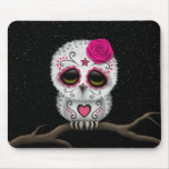 Cute Pink Day of the Dead Sugar Skull Owl Stars Mouse Pad