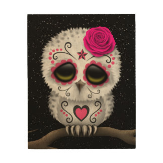 Cute Pink Day of the Dead Sugar Skull Owl Stars Wood Print