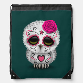Cute Pink Day of the Dead Sugar Skull Owl Teal Drawstring Bags