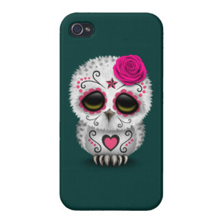 Cute Pink Day of the Dead Sugar Skull Owl Teal iPhone 4 Cases