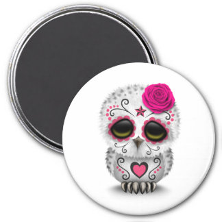 Cute Pink Day of the Dead Sugar Skull Owl White 3 Inch Round Magnet