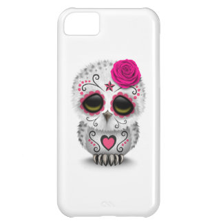 Cute Pink Day of the Dead Sugar Skull Owl White iPhone 5C Case