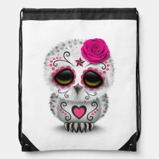 Cute Pink Day of the Dead Sugar Skull Owl White Drawstring Backpack