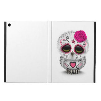 Cute Pink Day of the Dead Sugar Skull Owl White iPad Air Cases