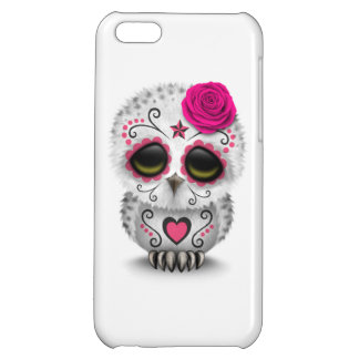 Cute Pink Day of the Dead Sugar Skull Owl White iPhone 5C Cases