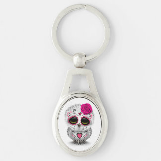 Cute Pink Day of the Dead Sugar Skull Owl White Key Chains