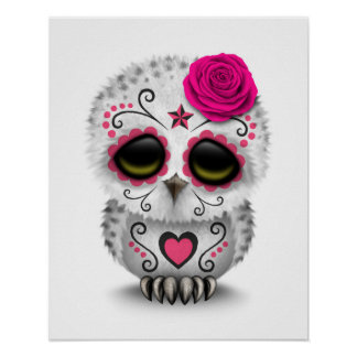 Cute Pink Day of the Dead Sugar Skull Owl White Poster